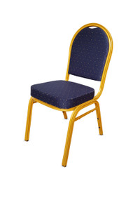 Round Back Steel Banqueting Chair. Blue with Gold Frame