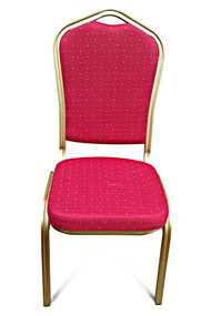 Shield Back Steel Banqueting Chairs. Red with Gold Frame
