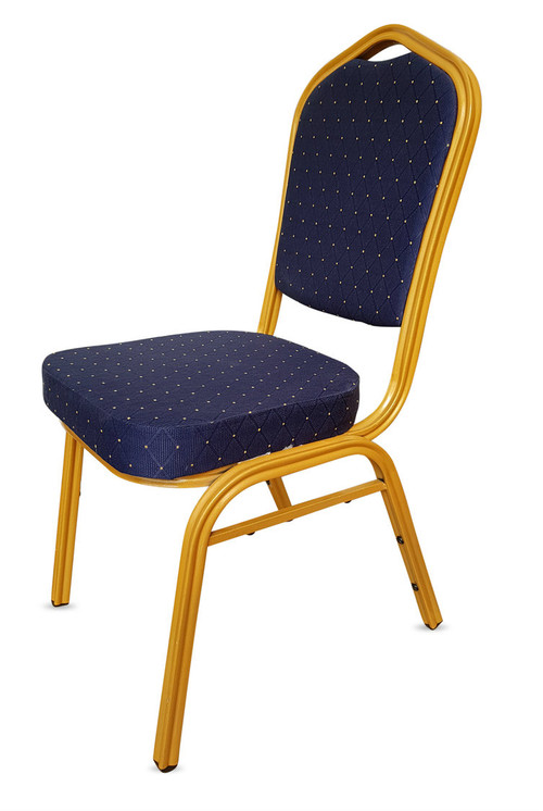 Shield Back Steel Banqueting Chair. Blue with Gold Frame
