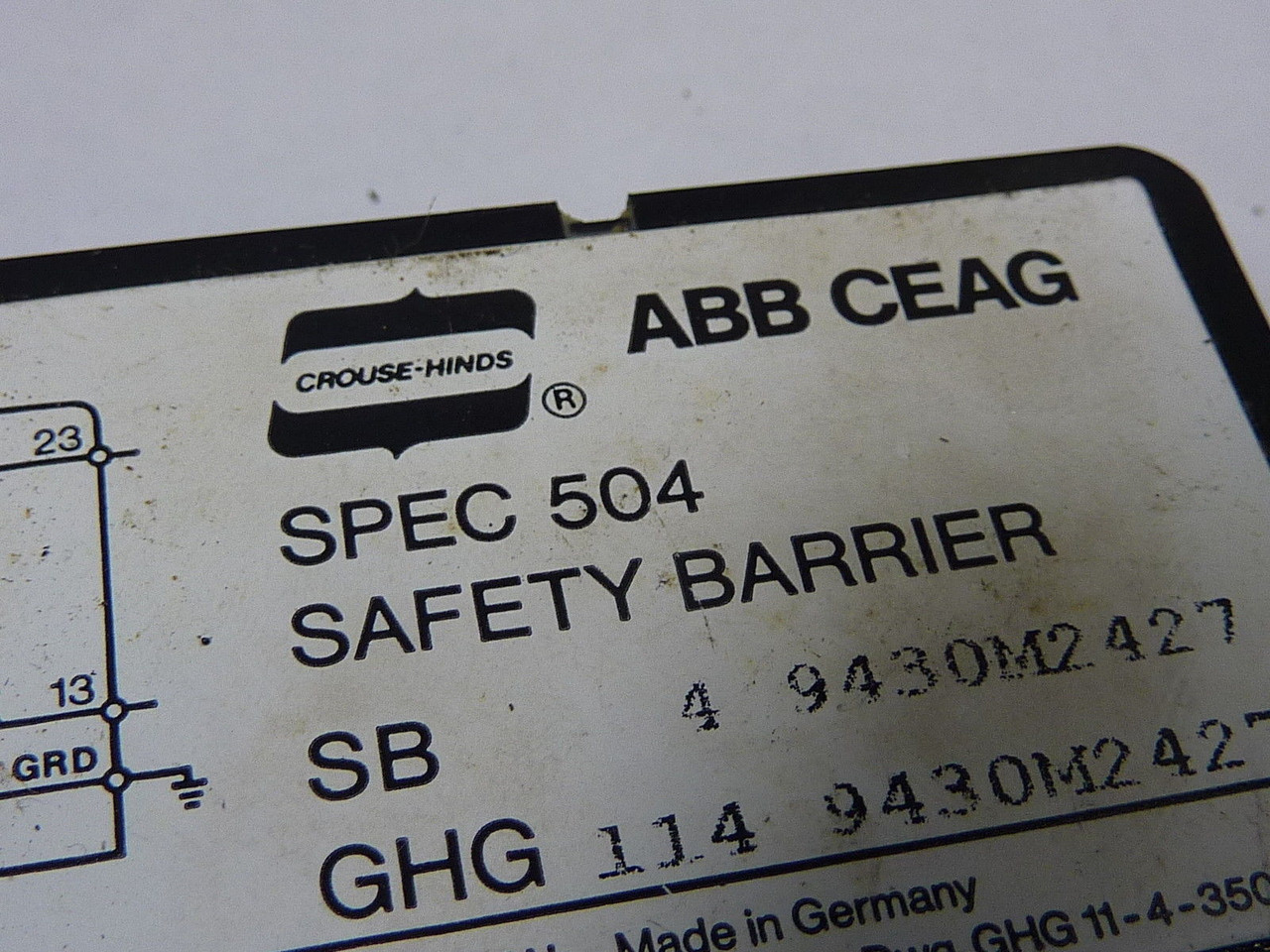 Crouse Hinds SPEC-504 Safety Barrier ! WOW !