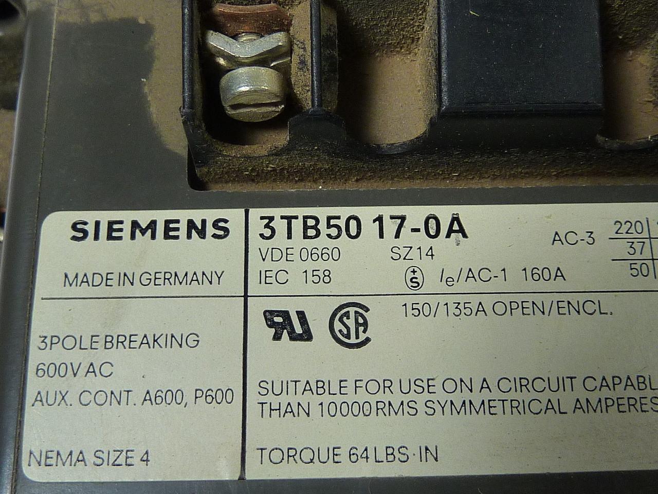 siemens 3tb50 17 0a contactor 120v wow industrial automation rh industrialautomationcanada com