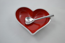 Red heart dish with heart spoon in metal by Inspired Generations