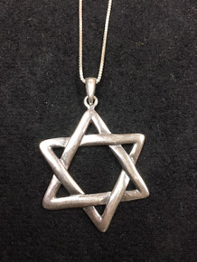 "Sterling  1 1/2"" Jewish Star Necklace"