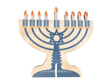 "Wooden Menorah with Self -Storing  Fire Free ""Candles"""