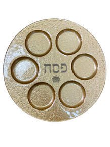 Seder Plate Gold Glass