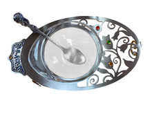 Pewter & Glass Haroset Dish