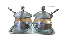 Pewter & Glass Salt & Horseradish Set