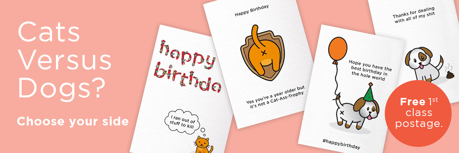 Cats vs Dogs Birthday Cards | Rude, Funny, Offensive Cards