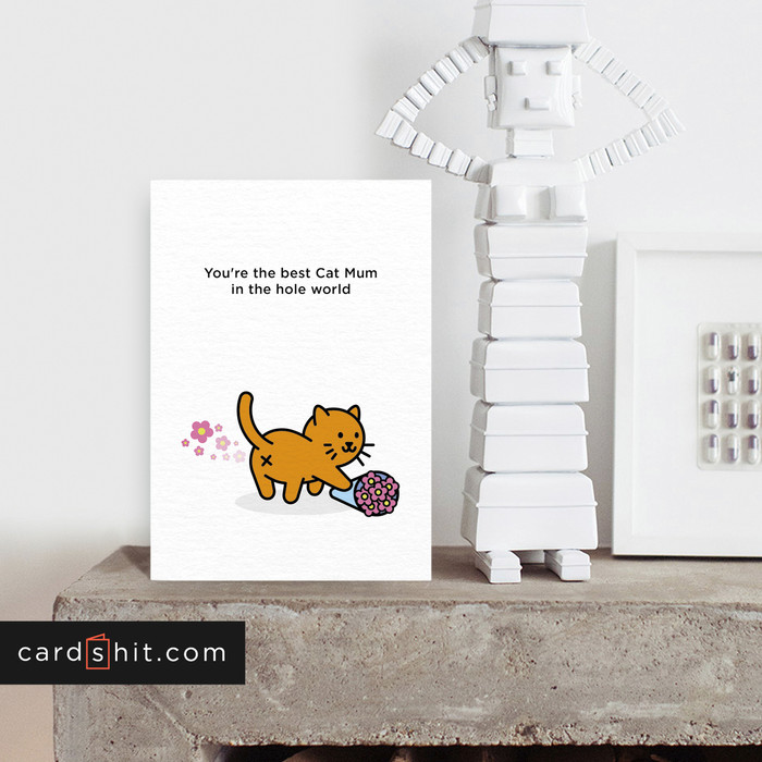 Greeting Cards Mothers Day Cards Cat Cards You're the best Cat Mum in the hole world
