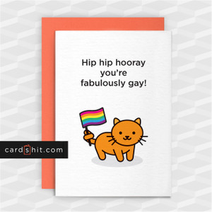 Greeting Cards Congratulations Card Coming Out Gay Lesbian LGBT  Yaaaay! You're getting meow-ied