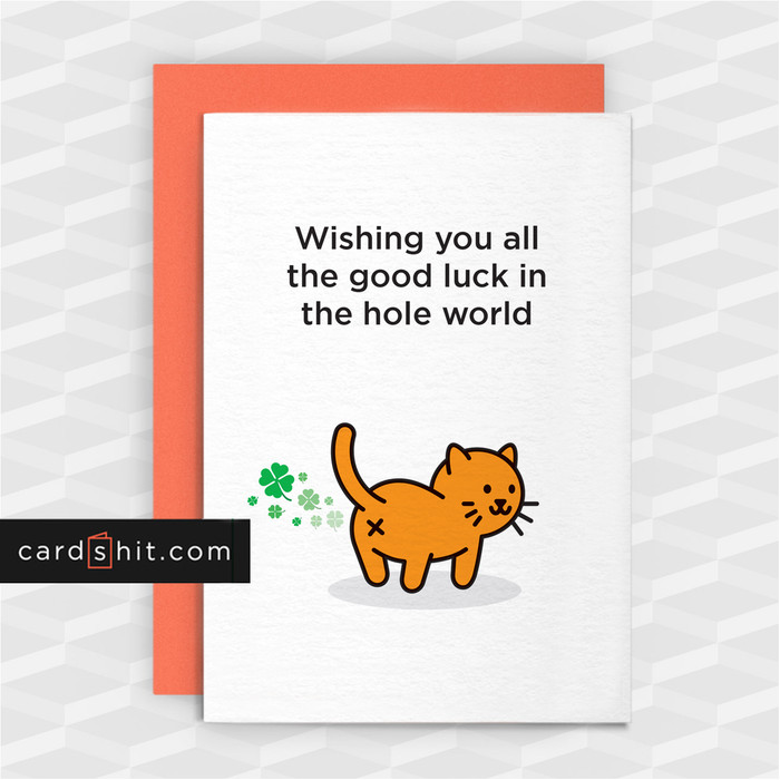 Greeting Cards Good Luck Card Cat Wishing you all the luck in the hole world