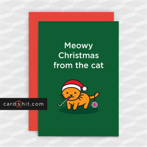 Meowy Christmas from the cat | Cat Christmas cards