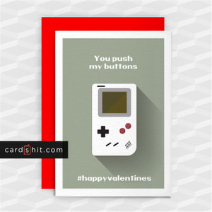Greeting Cards Valentines Day Cards You push my buttons #happyvalentines