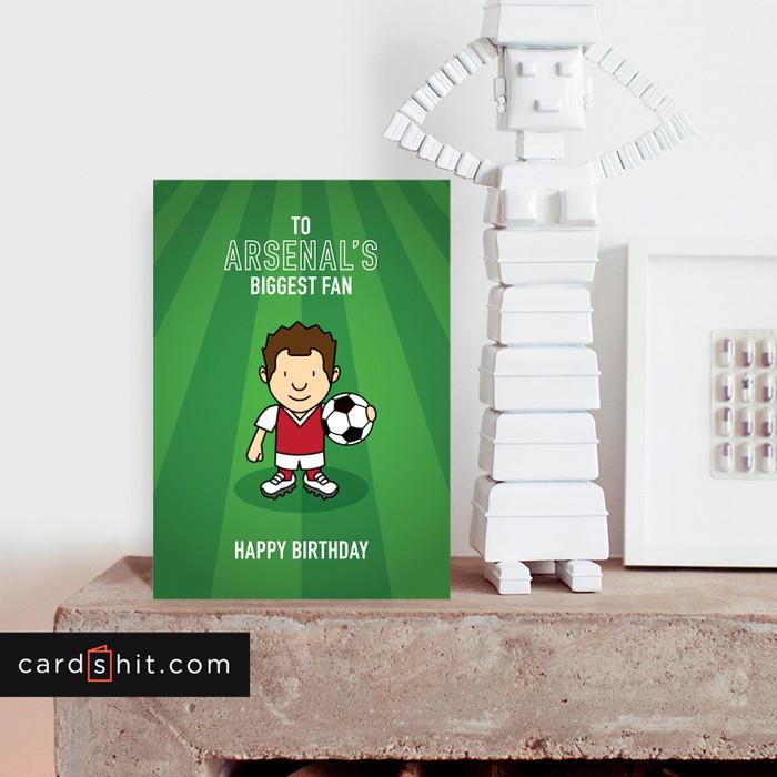 Greeting Cards Birthday Card Football Arsenal TO ARSENAL'S BIGGEST FAN HAPPY BIRTHDAY