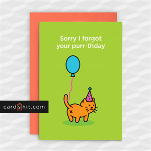 Greeting Cards Belated Birthday Cards Cats Sorry I forgot your purr-thday