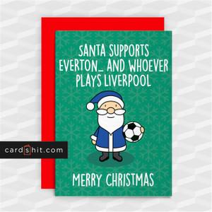 SANTA SUPPORTS EVERTON   Everton Christmas Cards