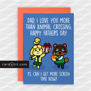DAD, I LOVE YOU MORE THAN ANIMAL CROSSING | Animal Crossing Father's Day Cards