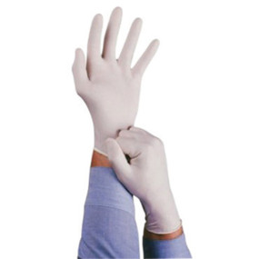 Lightly powdered natural rubber latex single use gloves