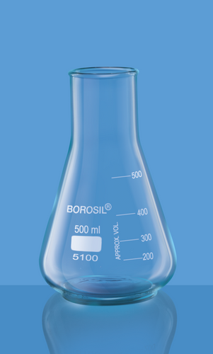Borosil Erlenmeyer, Conical, Wide Neck Flask