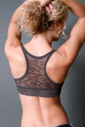 Coobie Undie Couture Racerback Lace Bralette (TS-1004), Charcoal
