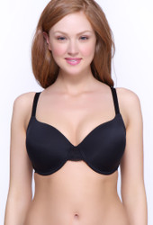 QT Intimates Lace Back Underwire T-Shirt Bra in Black