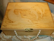 Dolphin Wood Burned Box Hand Made by D Jays