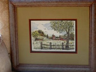 Barn Scene Framed Original Pen & Ink Drawing by Cindy Tomasik