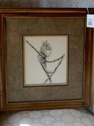 Squirrel In Tree Framed Original Pen & Ink Drawing by Cindy Tomasik