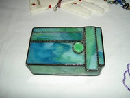 Green Stained Glass Box w/ Jewel Hand Made by Lorinda Niemi