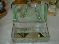 Green Streaked Stained Glass Box with Jewels by Lorinda Niemi