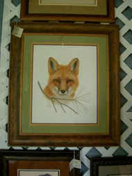 Red Fox with Pine Needles Framed Original Pastel Drawing by the Porter Family