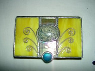 Yellow Stained Glass Box with Jewels by Lorinda Niemi