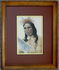 Young Sioux Warrior Framed Original Pastel Drawing by the Porter Family