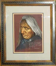 Sioux Indian Chief Red Cloud Original Pastel Drawing by Sally Porter Framed