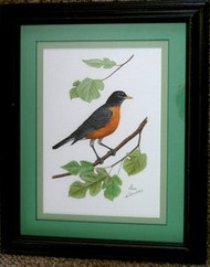 Robin with Mulberry Framed Original Pastel Drawing by the Porter Family
