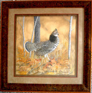 Framed Original Pastel Drawing Ruffed Grouse