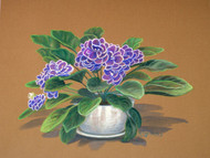Original Watercolor Painting African Violets