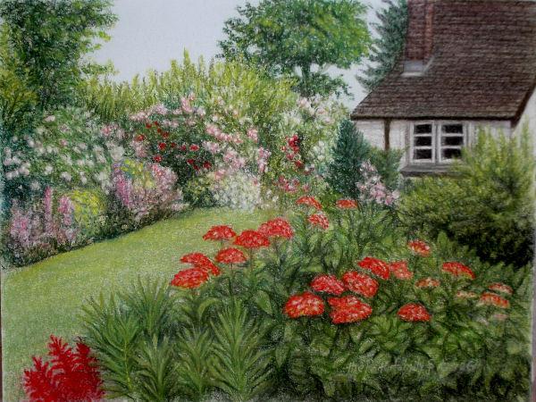 Original Pastel Drawing Flower Garden Wilder Fine Arts