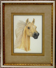 Framed Original Pastel Drawing Horse with Flying Mane