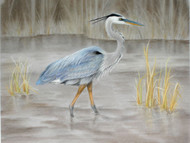 Original Pastel Drawing Great Blue Heron