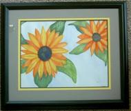 Sunflowers Framed Watercolor by Deanna Swartz