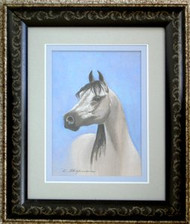 Arabian Horse Framed Pastel by Karen Wagaman