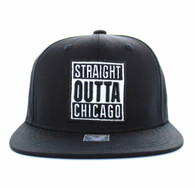 "SM731 ""STRAIGHT OUTTA CHICAGO"" Cotton Snapback (Solid Black)"