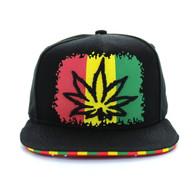 SM561 Marijuana Cotton Snapback (Black & Black)