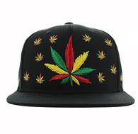SM562 Marijuana Cotton Snapback (Solid Black)