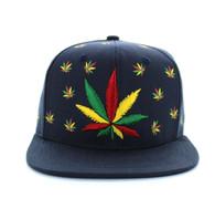 SM562 Marijuana Cotton Snapback (Solid Navy)