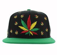SM562 Marijuana Cotton Snapback (Black & Kelly Green)