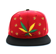 SM562 Marijuana Cotton Snapback (Red & Black)