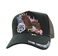 VM483 Route 66 Eagle Mesh Trucker Cap (Black & Brown)
