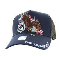 VM483 Route 66 Eagle Mesh Trucker Cap (Navy & Brown)